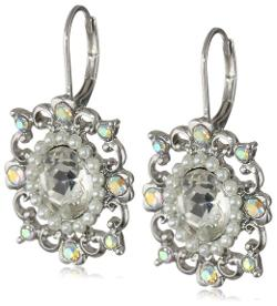 Betsey Johnson - Stone & Pearl Crystal and Pearl Oval Drop Earrings