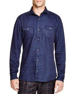 Eleventy  - Dot Classic Fit Button Down Shirt