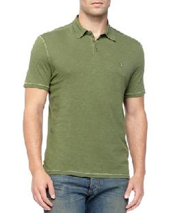 John Varvatos Star USA  - Pickstitched Slub Polo, Green