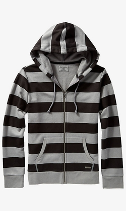 Express - Striped Fleece Zip Hoodie