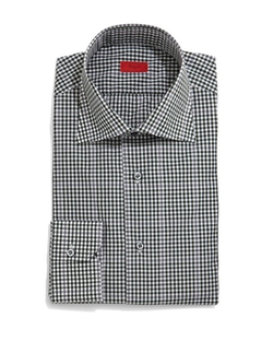 Isaia  - Gingham-Windowpane Long-Sleeve Dress Shirt