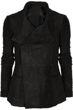 RICK OWENS  - Blister brushed-leather jacket