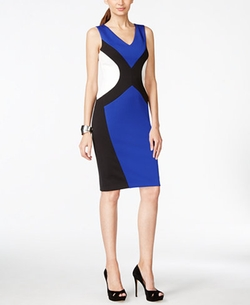 INC International Concepts - Colorblocked Scuba Sheath Dress