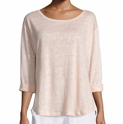Vince  - Rolled-Sleeve Draped Linen Tee