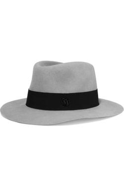 Maison Michel  - Andre Grosgrain Trimmed Rabbit Felt Fedora Hat