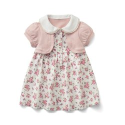 FabKids  - Pink Flowers Short Sleeve One Piece Baby Kids Girl Dress