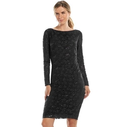 Chaps - Sequined Lace Sheath Dress