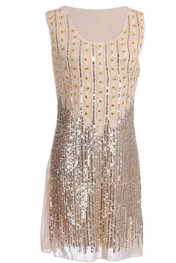 Vijiv - Beads And Sequin Embellished Shift Dress
