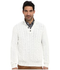Nautica  - Button Mock Neck Cable Sweater