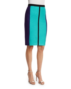 St. John Collection  - Boucle Knit Colorblock Pencil Skirt