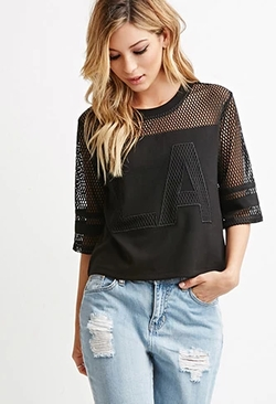 Forever 21 - LA Graphic Netted Mesh Top