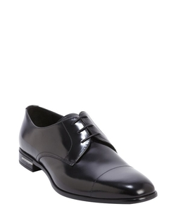Prada - Glazed Leather Square Toe Oxford Shoes