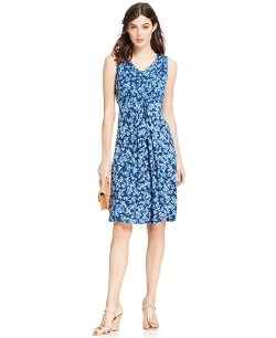 NY Collection - Petite Printed V-Neck Dress