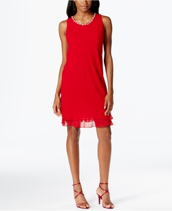 MSK - Embellished Chiffon Sheath Dress