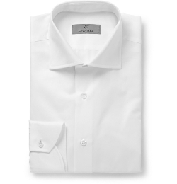 Canali - Slim-Fit Spread Collar Cotton-Piqué Shirt