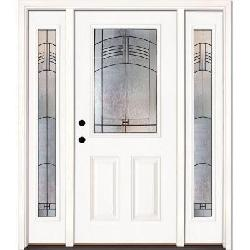 Feather River Doors  - Rochester Patina Half Lite Primed Smooth Fiberglass Entry Door
