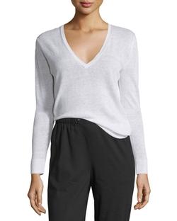 Theory - Adrianna Sag Harbor Printed V-Neck Sweater