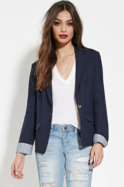 Forever21 - Striped-Trim Linen-Blend Blazer