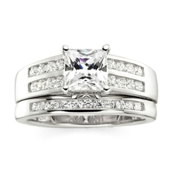 DiamonArt - Cubic Zirconia Sterling Silver 3-Stone Bridal Ring