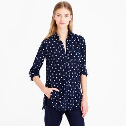 J. Crew - Tall Classic Silk Blouse In Ticktock Print