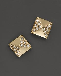Zoë Chicco  - 14K Yellow Gold Square Pyramid Pavé Diamond Stud Earrings