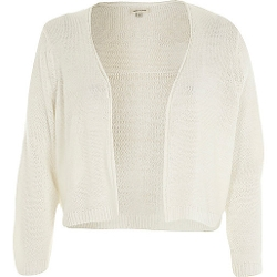 River Island - White 3/4 Sleeve Cropped Cardigan