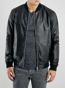 Topman - Black Leather Look Bomber Jacket