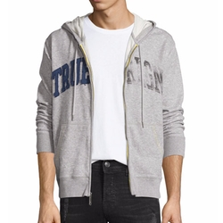 True Religion - Distressed-Logo Zip-Up Hoodie