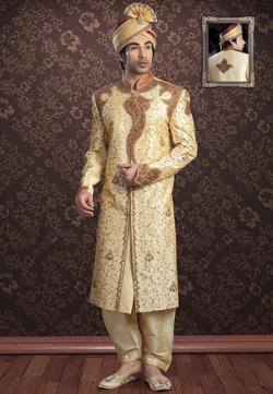 Utsav Fashion - Beige Jacquard Readymade Sherwani