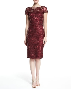 David Meister   - Short-Sleeve Sequined Sheath Dress