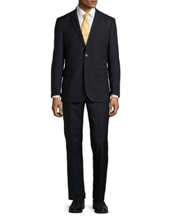 Neiman Marcus - Two-Piece Narrow Stripe Wool Suit