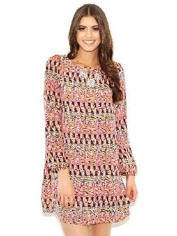 Boohoo - Shania Aztec Brush Knit Belted Wrap Dress