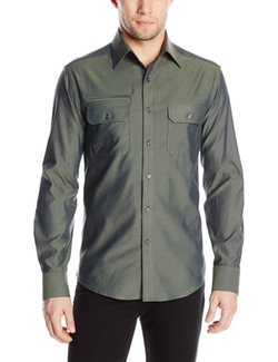 Vince Camuto  - Solid Double Pocket Roll Sleeve Button-Down Shirt