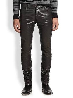 Diesel Black Gold - Faux Leather Five-Pocket Jeans