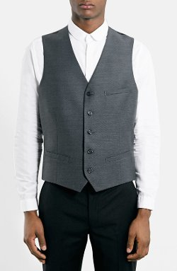 Topman - Grey Dobby Suit Vest