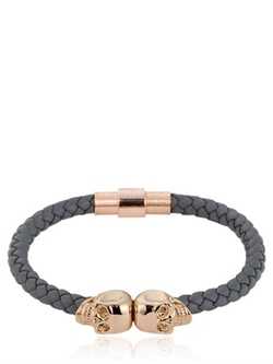 North Skull -  Grey Nappa Leather Bracelet