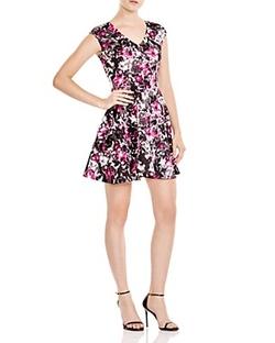 Aqua - Floral V Neck Scuba Dress