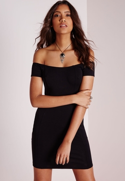 MissGuided - Petite Jersey Bardot Bodycon Dress