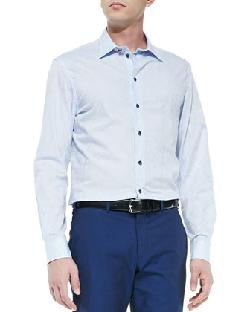 Armani Collezioni  - Textured Striped Dress Shirt, Light Blue