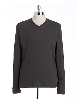 CALVIN KLEIN  - Ribbed Cotton V-Neck Shirt