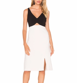 Halston Heritage - V Neck Colorblock Sleeveless Dress