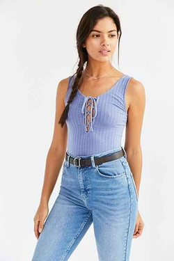 Project Social T - Lace Up Ribbed Tank Top