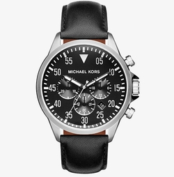 Michael Kors  - Gage Silver-tone And Leather Watch
