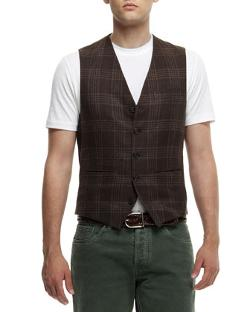 Brunello Cucinelli - Brwn Plaid Waist Coat