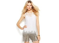 INC International Concepts  - Illusion Lace Fringe Top