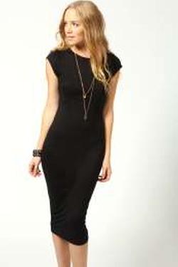 Boohoo Basics  - Cara Cap Sleeve Jersey Bodycon Midi Dress