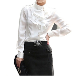 Vobaga - Waterfall Ruffle Front Neck Blouse