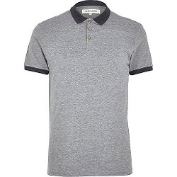 River Island - Grey Marl Contrast Collar Polo Shirt