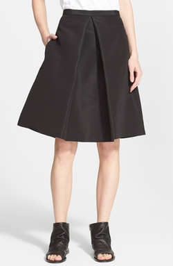 Tibi  - Pleated Silk Faille A-Line Skirt