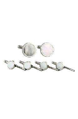 David Donahue  - Mother-of-Pearl Cuff Link & Stud Set